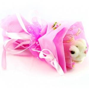 Букет № 3р Мишка розовый