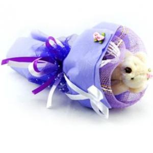 Букет № 3ф Мишка фиолетовый