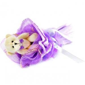 Букет № 4ф Мишка фиолетовый