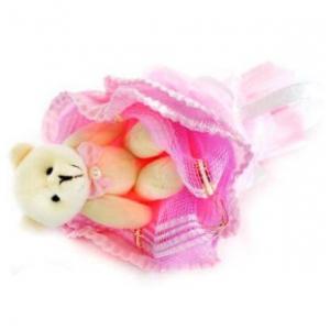 Букет № 4р Мишка розовый