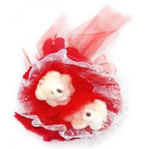 Букет № 5к Мишки красный