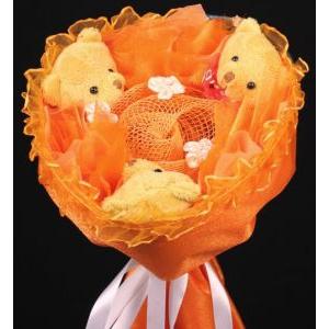 Букет № 102о Мишки 3шт. оранжевый