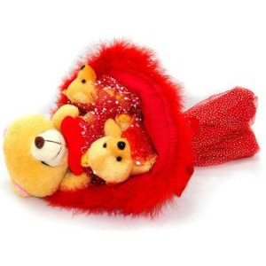 Букет № 103к Мишки 3шт. красный