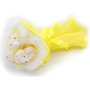 Букет № 104ж Мишки 3шт. желтый