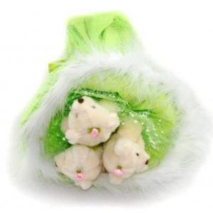 Букет № 104з Мишки 3шт. зеленый