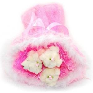 Букет № 104р Мишки 3шт. розовый