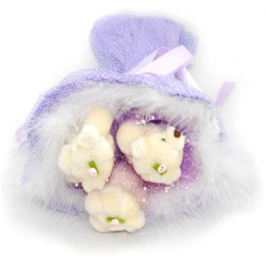 Букет № 104ф Мишки 3шт. фиолетовый