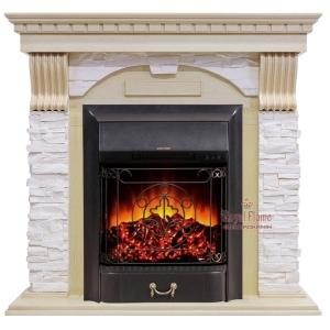 Каминокомплект Royal Flame портал Dublin белый сланец крем с очагом Fobos/Majestic
