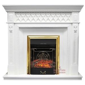 Каминокомплект Royal Flame портал Alexandria белый дуб с очагом Fobos/Majestic