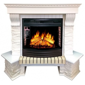 Каминокомплект Royal Flame портал угловой Pierre Luxe сланец белый с очагом Dioramic 25 FX